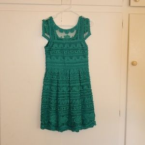 Emerald Green Embroidered Dress